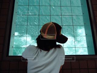 ウィンドウの前に立っている人の写真・画像素材[1041290]