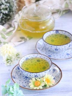 花,休憩,リラックス,癒し,急須,ティータイム,お茶,テーブルフォト,緑茶,日本茶,グリーンティー,カップアンドソーサー