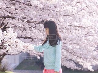 石壁の前に立っている女性の写真・画像素材[1198805]