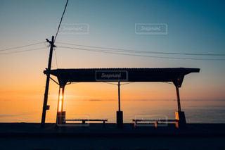 下灘駅の夕日の写真・画像素材[1272147]