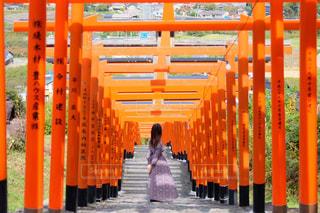 浮羽稲荷神社の鳥居の中にいる女性の写真・画像素材[1598163]