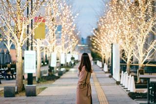 女性,風景,屋外,大阪,イルミネーション,道,歩道,梅田,グランフロント大阪,シャンパンゴールド