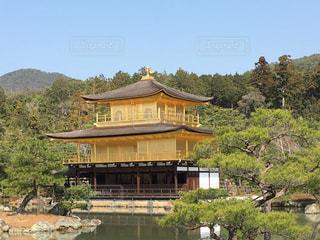 背景に金閣寺と背景の木と家の写真・画像素材[1693599]