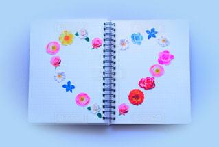 花,ハート,ノート