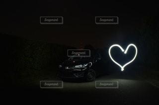 夜,車,ハート,自動車,長時間露光,スローシャッター,FIT