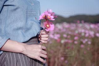 花を持っている人の写真・画像素材[895770]