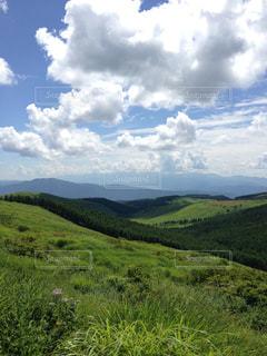 背景の山に大規模なグリーン フィールドの写真・画像素材[1122987]