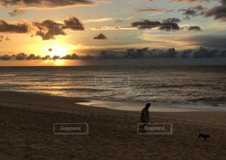 空,夕日,ビーチ,砂浜,散歩,ハワイ