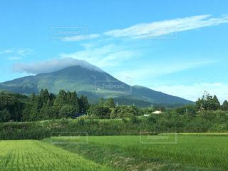 背景の山に大規模なグリーン フィールドの写真・画像素材[1178719]