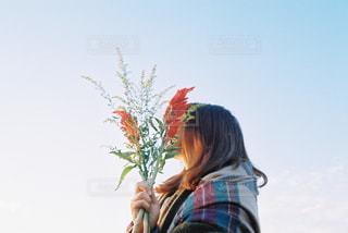 木の隣に立っている女性の写真・画像素材[850752]