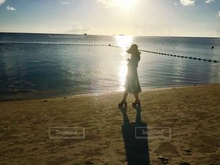 海,空,夏,夕日,太陽,島,キラキラ,サイパン