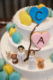 犬,ケーキ,結婚式,クリーム,人形,お菓子,マカロン,新郎新婦