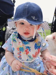 公園,帽子,女の子,ピクニック,洋服,赤ちゃん,ブルー,休日,ベビー,夏服,半袖