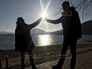 富士山,太陽,ハート,河口湖,ツーショット