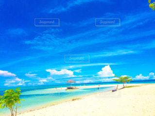水の体の横にある砂浜のビーチの写真・画像素材[1213376]