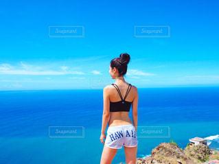 海,夏,海外,後ろ姿,女子,人物,背中,人,後姿,旅行,ハワイ