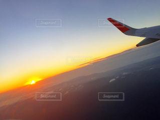 風景,空,太陽,夕暮れ,飛行機,光