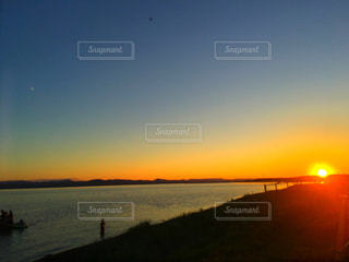 夕日,北海道,夕陽,サロマ湖,三里浜キャンプ場