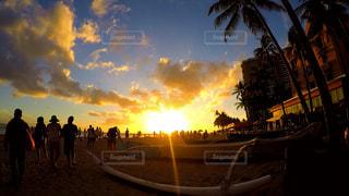 背景の夕日とヤシの木のグループの写真・画像素材[1385310]