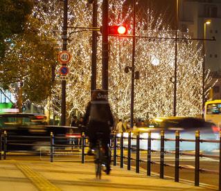 女性,1人,風景,夜,自転車,綺麗,車,樹木,イルミネーション,都会,人,信号,明るい,通り,家路,自転車通勤,シャンパンゴールド
