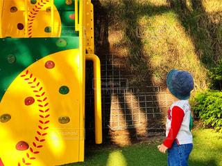 草の中に立っている小さな男の子の写真・画像素材[761911]