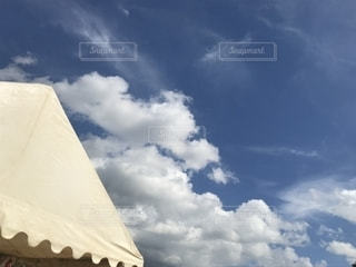 空,秋,屋外,雲,青空,テント,運動会,秋空,秋の空