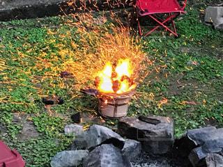 七輪で火起こし♪の写真・画像素材[2396599]