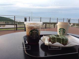 カフェ,海,コーヒー,スターバックス,明石海峡大橋,淡路サービスエリア,曇り天気