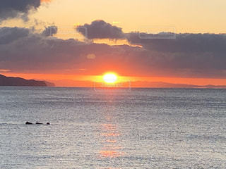 風景,海,空,太陽,雲,海岸,光,日の出,初日の出