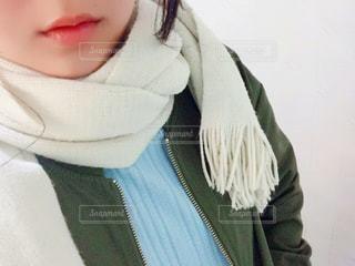冬,自撮り,マフラー,女,ブルゾン,寒さ対策