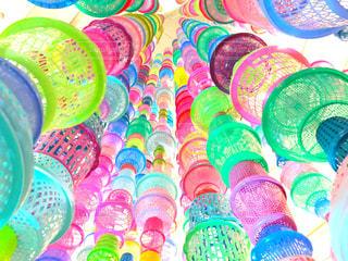 海外,ピンク,緑,赤,カラフル,青,黄色,アート,観光,旅行,芸術,籠,タイ,海外旅行,バンコク,ショッピングモール,カゴ,インスタ映え