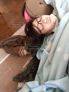 家族,犬,黒,ペット,トイプードル,愛犬,添い寝