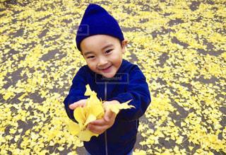 黄色の花を身に着けている男の子の写真・画像素材[840915]