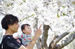 赤ん坊を抱いている若い男の写真・画像素材[2390887]
