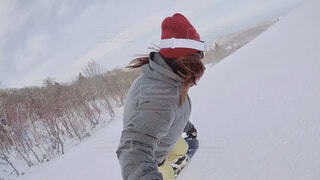 アウトドア,冬,雪,セルフィー,運動,ゲレンデ,スキー場,スノーボード,ウィンタースポーツ,アクションカメラ,スノボ女子