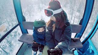 冬,自撮り,雪,親子,セルフィー,スキー,ゴーグル,幼児,運動,ゴンドラ,スノーボード,ウィンタースポーツ