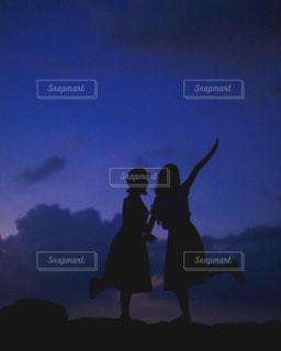 空,夜,夕焼け,夕方,沖縄,シルエット,石垣島,ララランド