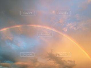 自然,空,雲,青,夕暮れ,虹,オレンジ,雨上がり,クラウド
