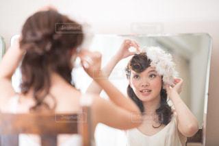 お気に入りのかわいいつまみ細工の髪飾りの写真・画像素材[2701957]