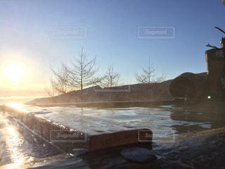 冬,温泉,夕焼け,山,雲の上