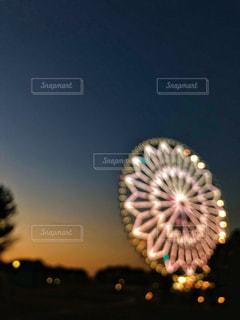 空に花火のグループの写真・画像素材[1003005]