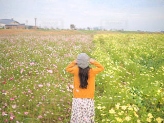 草の中に立っている人の写真・画像素材[2776133]