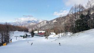 雪に覆われた斜面をスキーに乗る人々のグループの写真・画像素材[2951395]