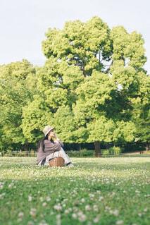 公園の原っぱに座る女性の写真・画像素材[4465811]