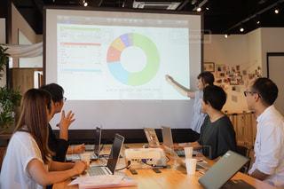 コンピュータの前のテーブルに座っている人々のグループの写真・画像素材[2405020]