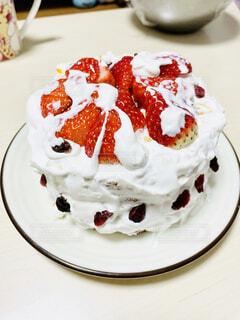 妻作のクリスマスケーキの写真・画像素材[4001903]