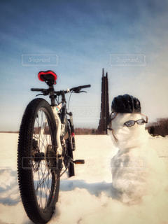 春,自転車,北海道,雪だるま,サイクリング,3月