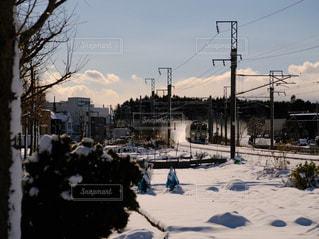 自然,雪,白,電車,線路,北海道,雪景色,景色,ホワイト,札幌市,スノー,雪煙