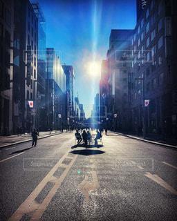 風景,空,建物,屋外,太陽,光,都会,道,高層ビル,歩行者天国,銀座