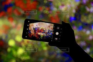 携帯電話を持った手のクローズアップの写真・画像素材[2283319]